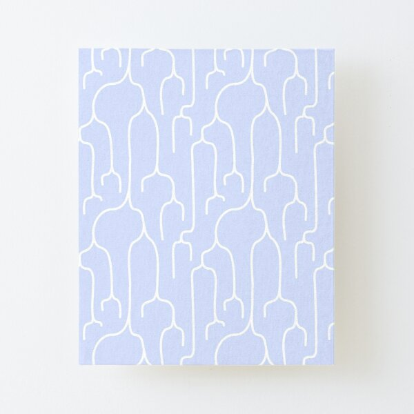 Abstract Phylogenetic Tree White on Blue Canvas Mounted Print