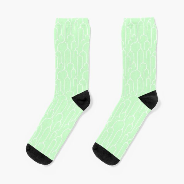 Abstract Phylogenetic Tree White on Green Socks