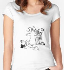 calvin and hobbes b N w Women's Fitted Scoop T-Shirt