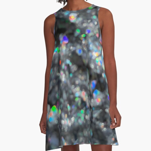 Holographic Blur A-Line Dress