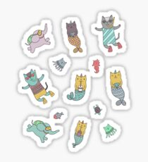 Cat - mermaids under the sea.  Sticker