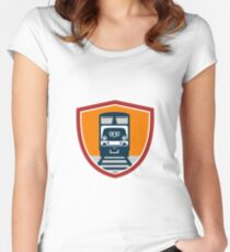Diesel Train Freight Rail Crest Retro Women's Fitted Scoop T-Shirt