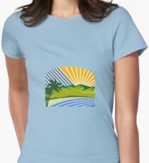 Tropical Trees Mountains Sea Coast Retro Womens Fitted T-Shirt