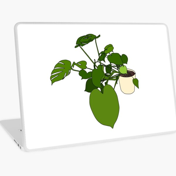 Sprawling monstera in a pot with black outline Laptop Skin