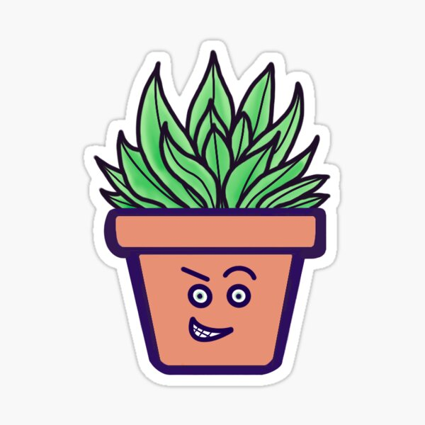 """Cute Potted Plant - """"Randy"""" Glossy Sticker"""
