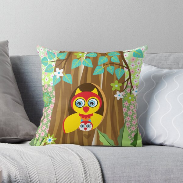 Mother and Baby Owl Throw Pillow
