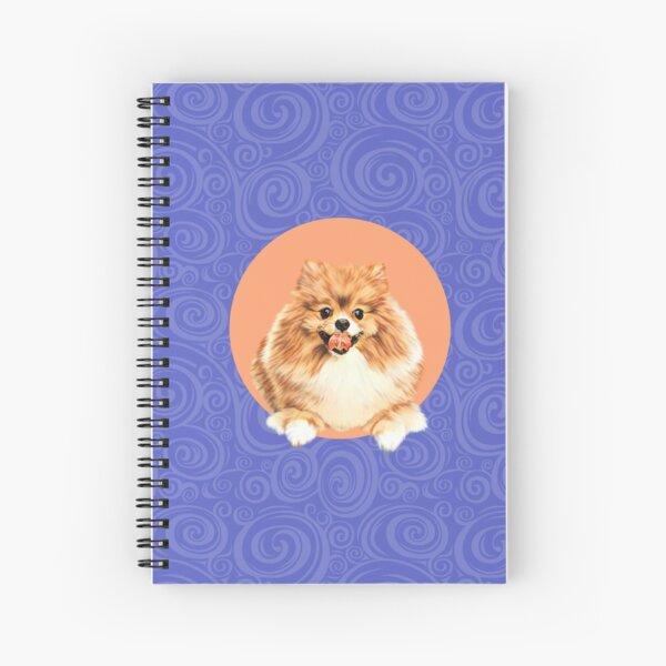 Cute Pomeranian dog on peach background graphic art Spiral Notebook