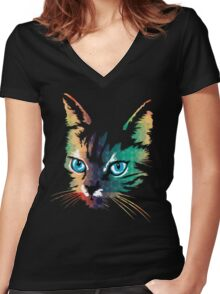 POP ART CAT Women's Fitted V-Neck T-Shirt