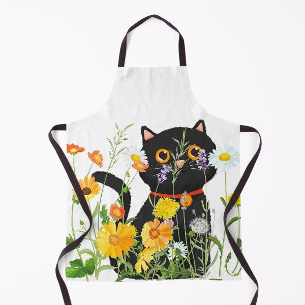 Black Cat Peeking through Orange, Yellow, Purple and White Spring Wildflowers Apron