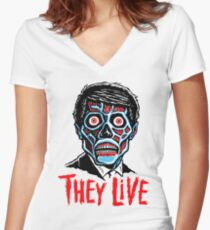 THEY LIVE!!! Women's Fitted V-Neck T-Shirt