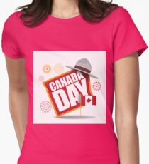 Canada Day maple leaf flag design Womens Fitted T-Shirt