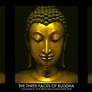 Buddhistic  triptych - The three faces of Buddha on black by neonunchaku