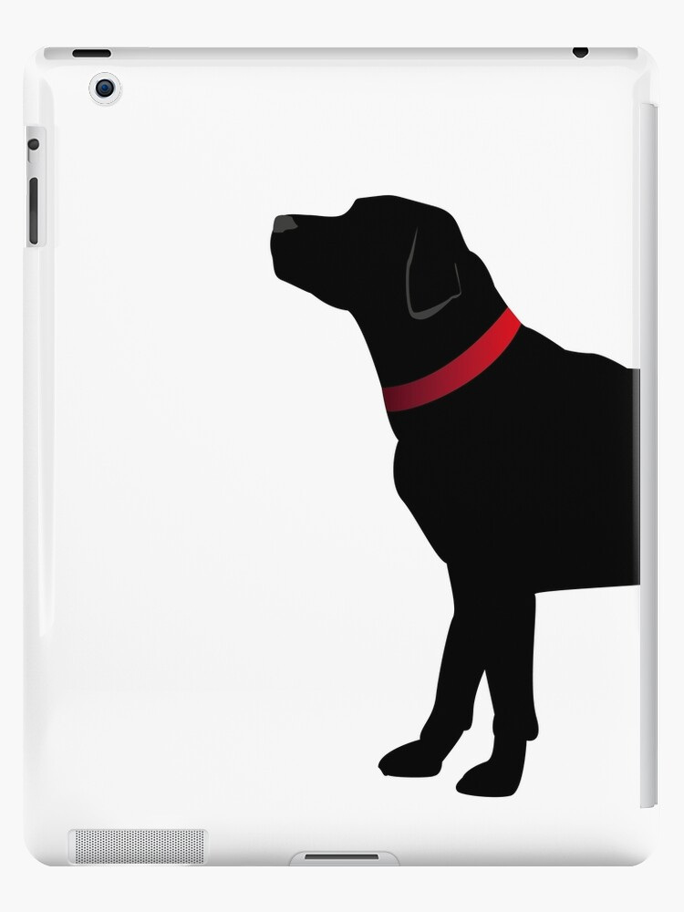 Black Labrador with Red Collar by polkadotjelly