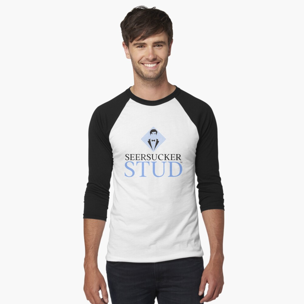 Seersucker Stud Logo Baseball ¾ Sleeve T-Shirt