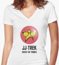 JJ Trek Sucks the Tribble Women's Fitted V-Neck T-Shirt