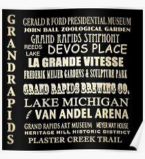 Grand Rapids Michigan Famous Landmarks Poster
