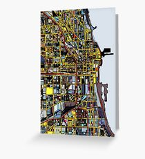 Abstract Map of Chicago IL Greeting Card