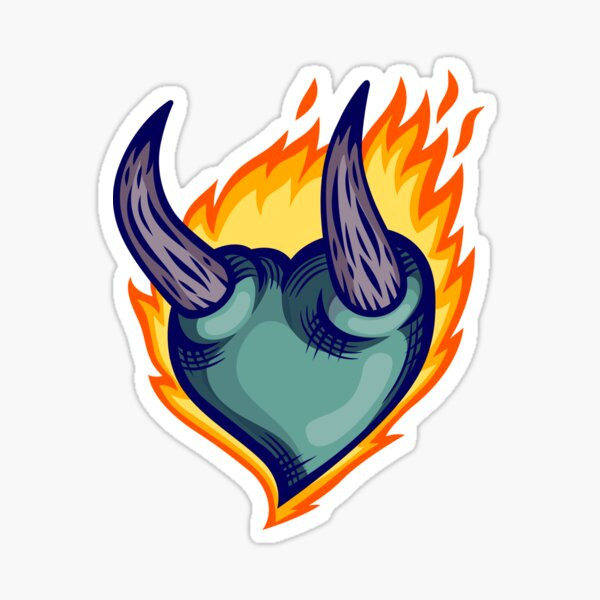 The Burning Blue Heart Sticker