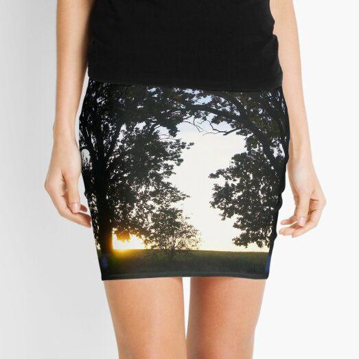 Summer Sunset Sky Through The Trees Mini Skirt