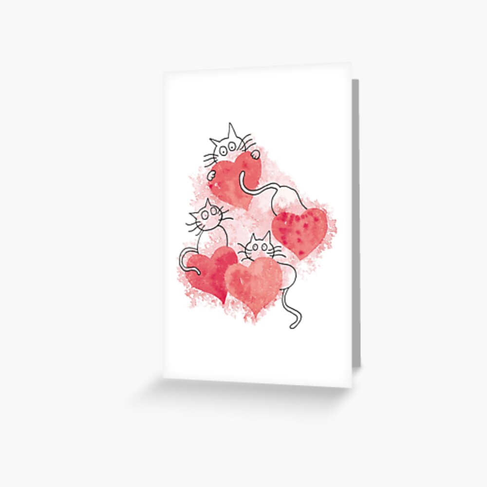 Love Cats Abstract Watercolor Greeting Card