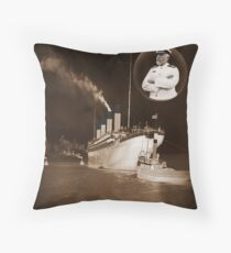 ☝ ☞ EJ SMITH CAPTAIN OF THE TITANIC & TITANIC -ThRoW PilloW-Titanic leaving Belfast with two guiding tugs ☝ ☞ Throw Pillow
