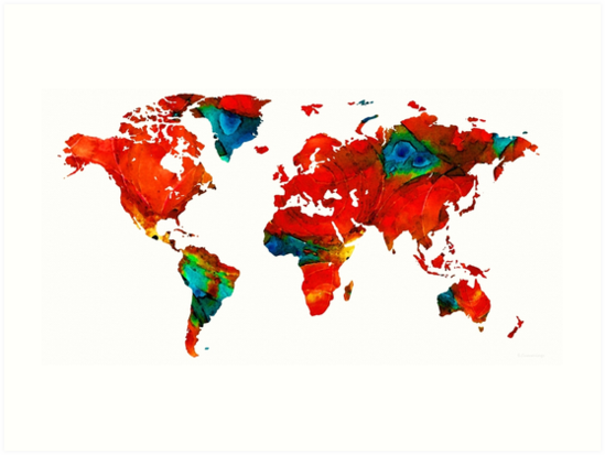 World Map 12 - Colorful Red Map by Sharon Cummings by Sharon Cummings