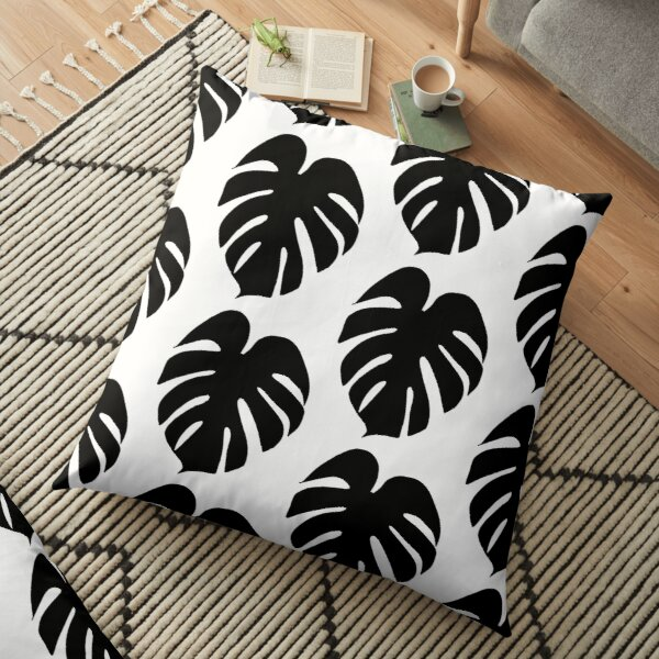 Monstera Leaf in black Floor Pillow