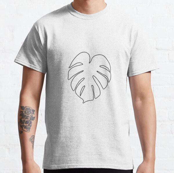 Monstera Leaf in black outline Classic T-Shirt