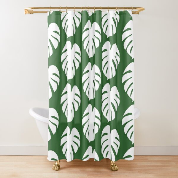 Monstera Leaf in white Shower Curtain