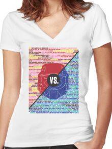 Red Vs. Blue Women's Fitted V-Neck T-Shirt