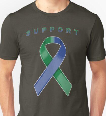 Green & Blue Awareness Ribbon of Support T-Shirt