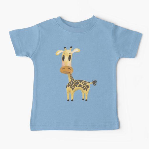 Cute African Giraffe nursery pattern with pale blue background. Baby T-Shirt