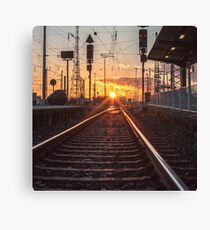 sunset track Canvas Print