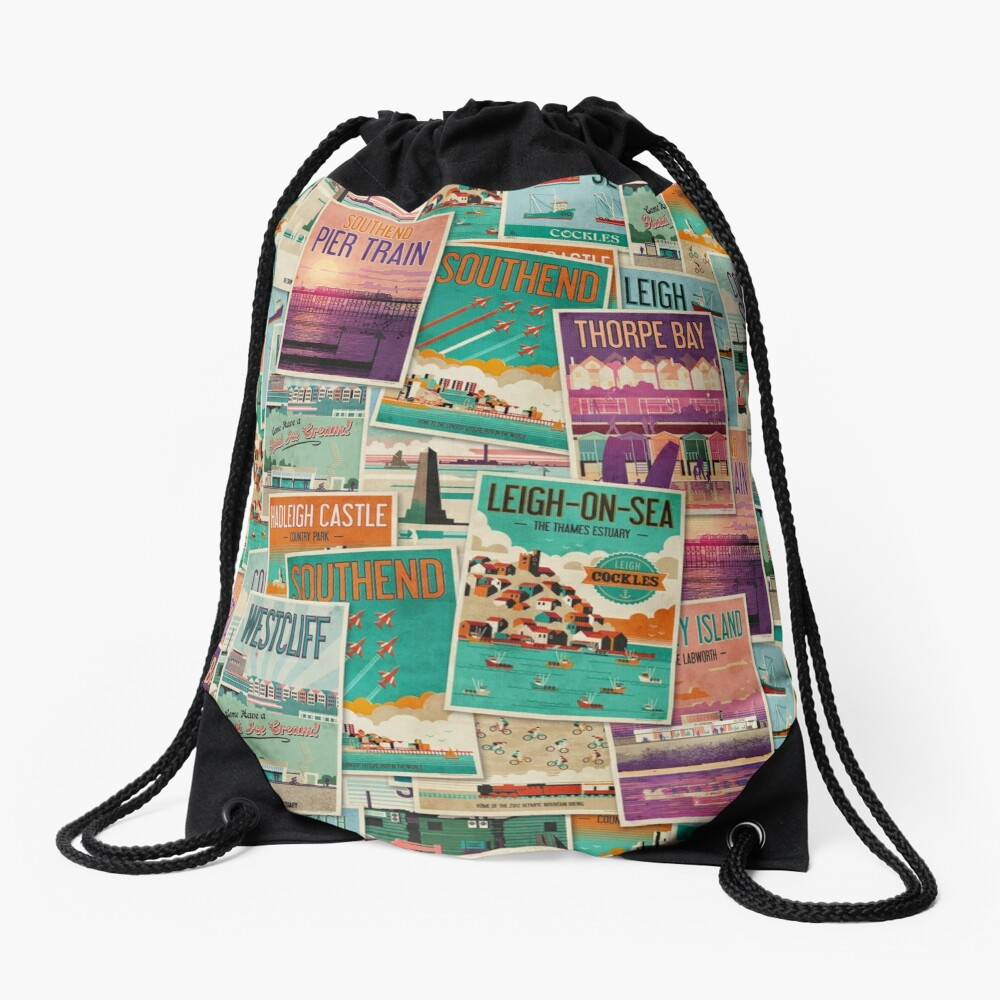 Southend-on-Sea, Essex, UK Poster Collection Drawstring Bag Front