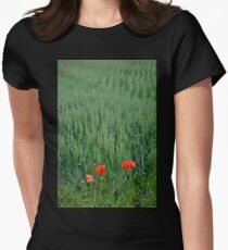 Poppies in Wheat Field Women's Fitted T-Shirt