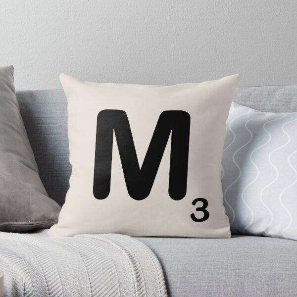 Scrabble Tile M Throw Pillow