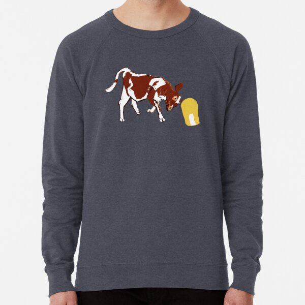 Baby calf with corn in green Lightweight Sweatshirt