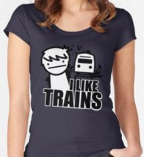 I Like Trains - asdfmovie Women's Fitted Scoop T-Shirt