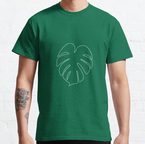 Monstera Leaf in white outline Classic T-Shirt