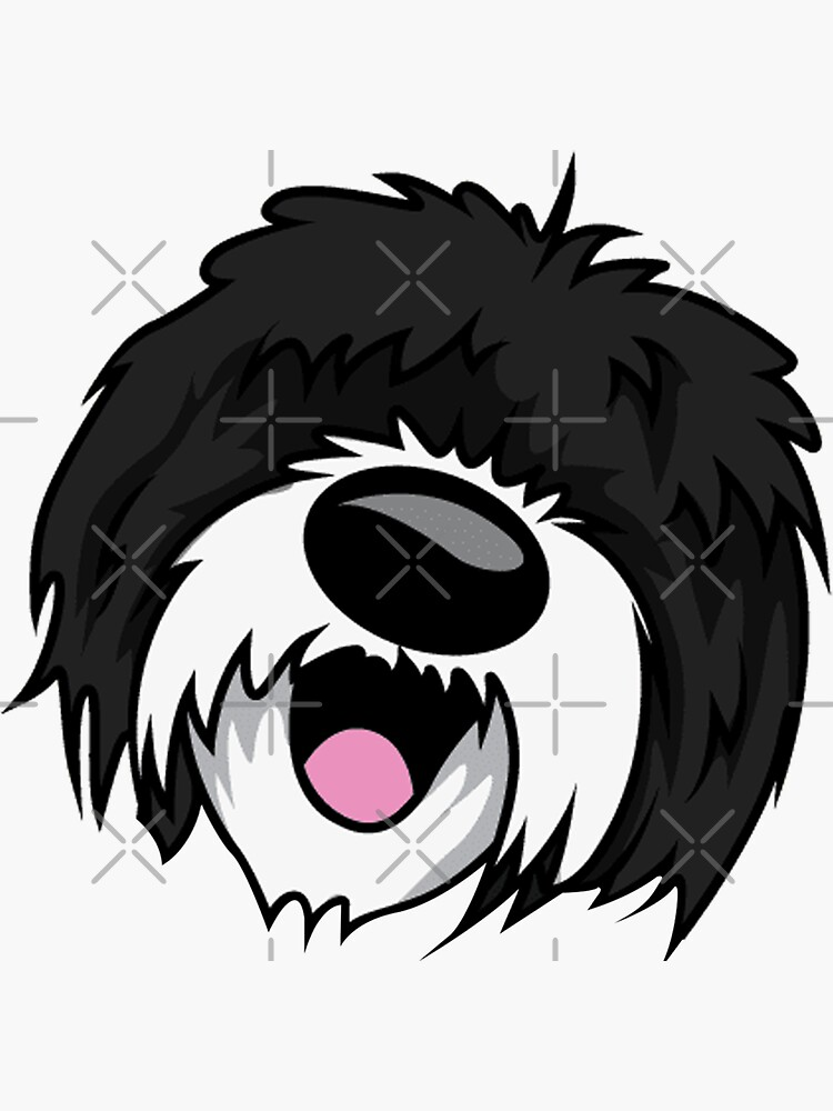 Sheepadoodle Face - Hilarious Decal Sheepadoodle Dog Face Lovers Gifts Ideas For Her Or Him by 96cazador