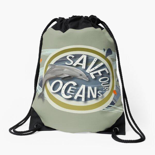 Save our Oceans - Striking bottlenose dolphin save the seas range for wild open water swimmers - Caroline Laursen Original Drawstring Bag