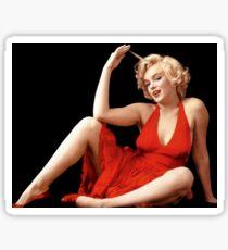 """""""MARILYN MONROE"""" In A Red Dress Print Sticker"""