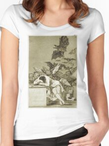 Francisco De Goya  - The Sleep Of Reason Produces Monsters. Bird painting: cute fowl, fly, wings, lucky, pets, wild life, animal, birds, little small, bird, nature Women's Fitted Scoop T-Shirt