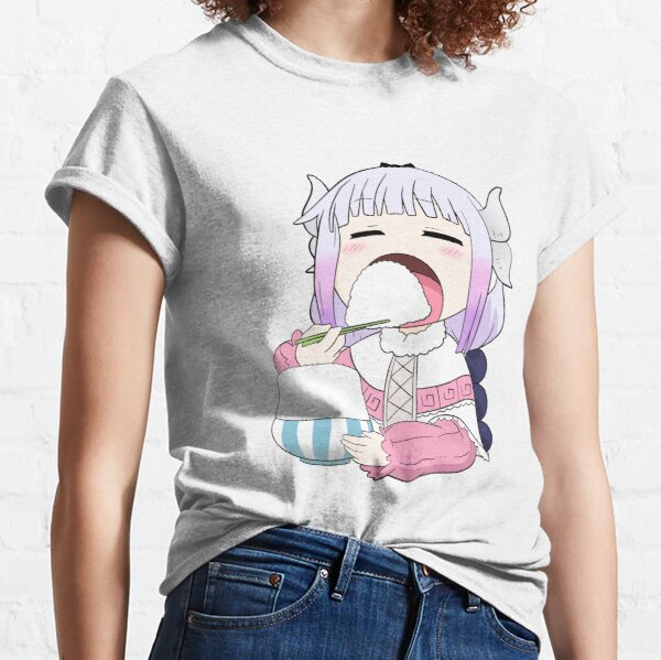 Kanna eating rice - Miss Kobayashi's Dragon Maid Anime  Classic T-Shirt