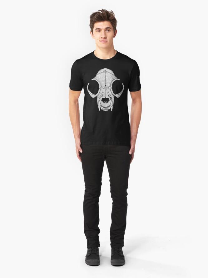 Alternate view of Cat Skull White Halftone Slim Fit T-Shirt