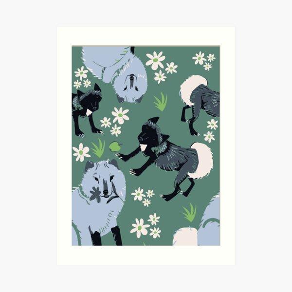 Arctic Fox vector art teal Art Print