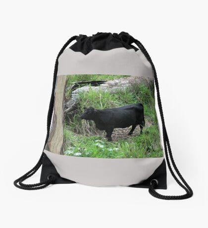 Black Cow Drawstring Bag