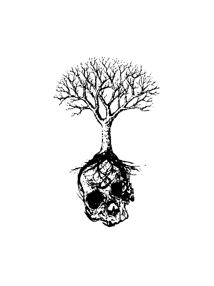 Skull and Tree Graphic T-Shirt by np0341