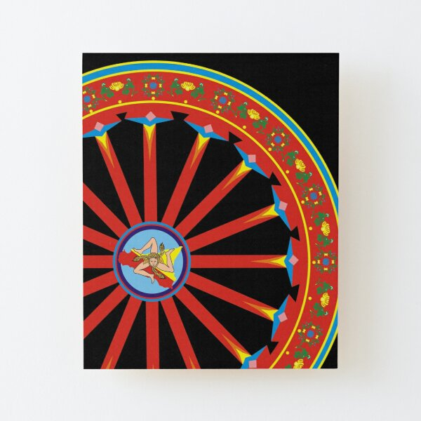 Wheel of the Sicilian cart with flag, ruota carretto siciliano con bandiera Sicilia Wood Mounted Print