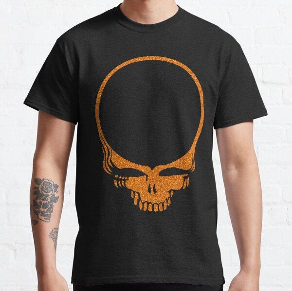Skull Print with Orange Lava Plasma Texture Classic T-Shirt